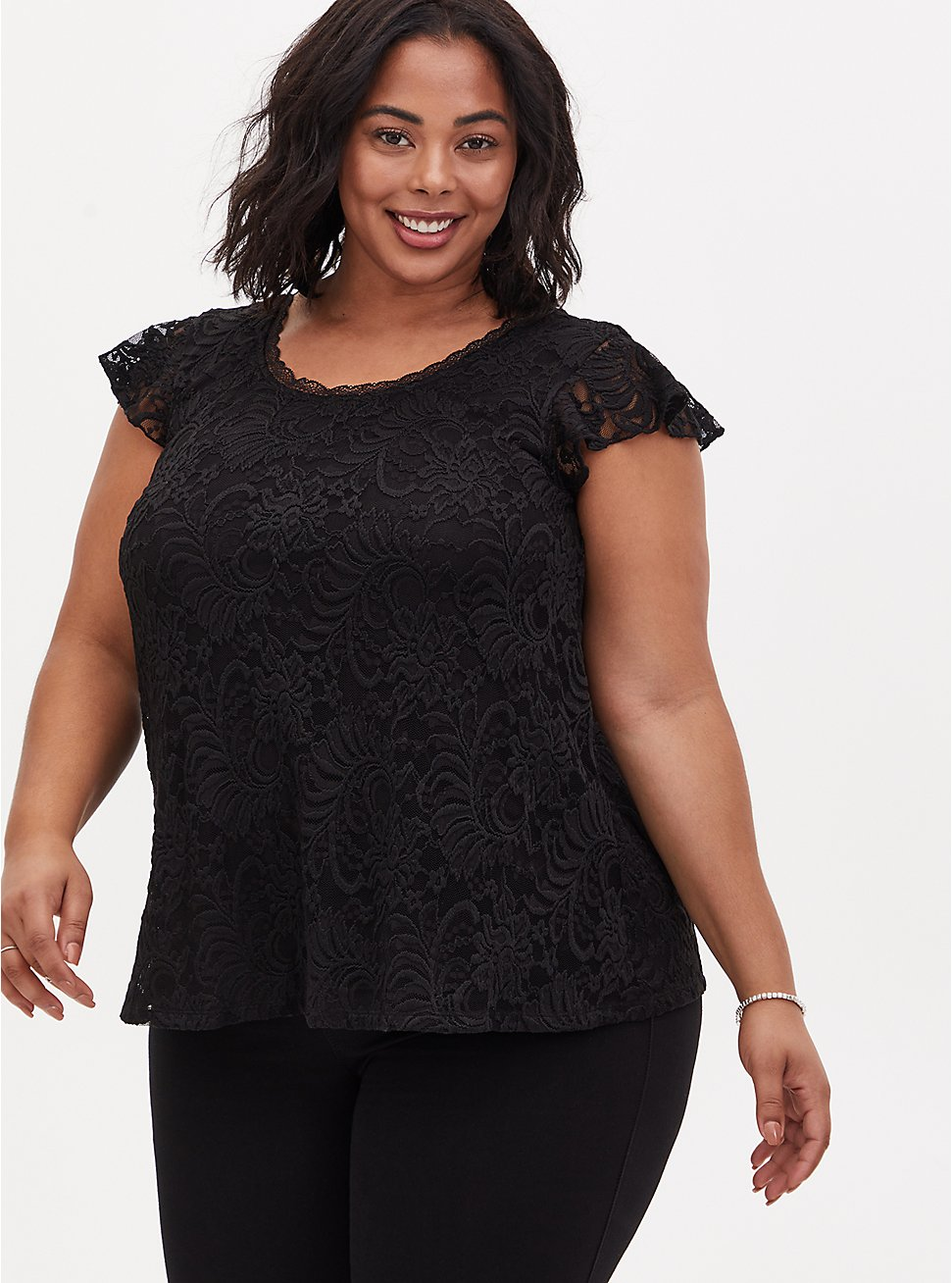 Black Lace Cap Sleeve Top , DEEP BLACK, hi-res