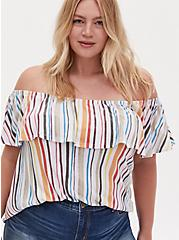 Rainbow Stripe Textured Off Shoulder Top, STRIPE - WHITE, hi-res