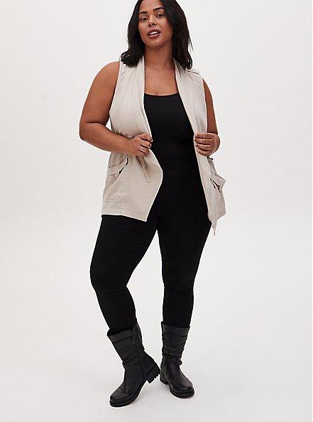 Light Taupe Textured Drawstring Drape Front Pocket Vest, CHATEAU GRAY, alternate