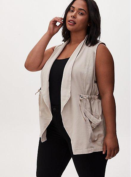 Light Taupe Textured Drawstring Drape Front Pocket Vest, CHATEAU GRAY, hi-res