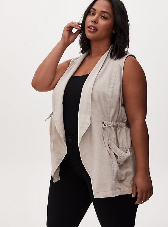 Light Taupe Textured Drawstring Drape Front Pocket Vest, , hi-res