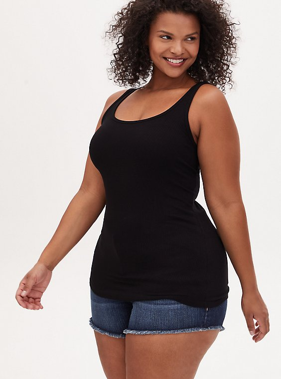 Super Soft Rib Black Scoop Neck Tank, , hi-res