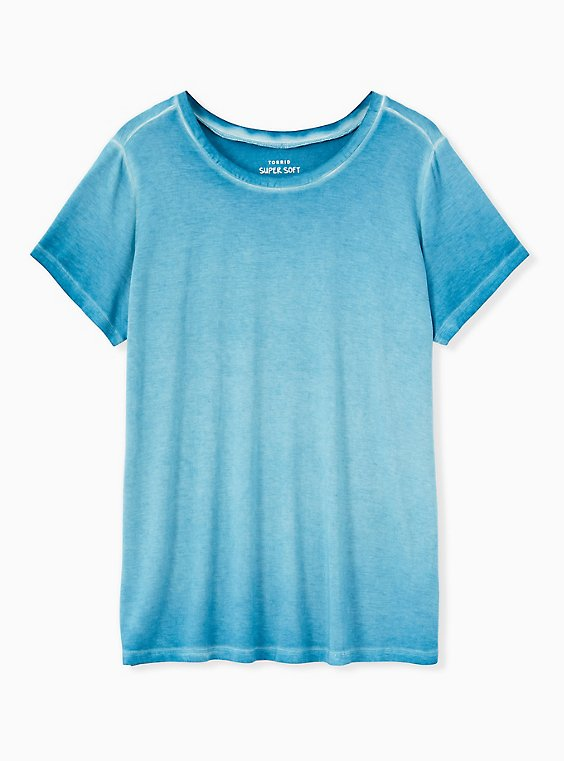 Slim Fit Crew Tee - Super Soft Washed Aqua, , ls