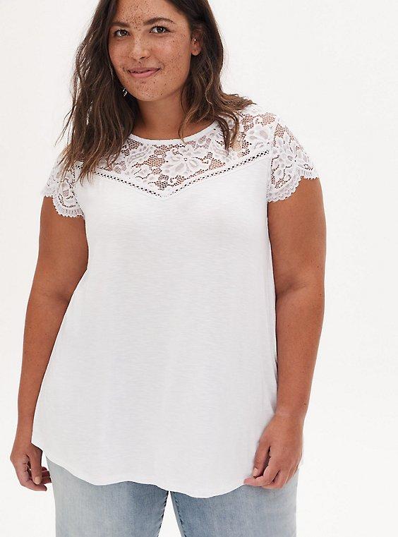 Super Soft Slub White Lace Sleeve Top, BRIGHT WHITE, hi-res