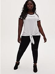 Trust Yourself Tie Front Ringer Tee - Slub Jersey White , BRIGHT WHITE, alternate