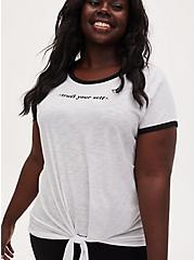 Trust Yourself Tie Front Ringer Tee - Slub Jersey White , BRIGHT WHITE, hi-res