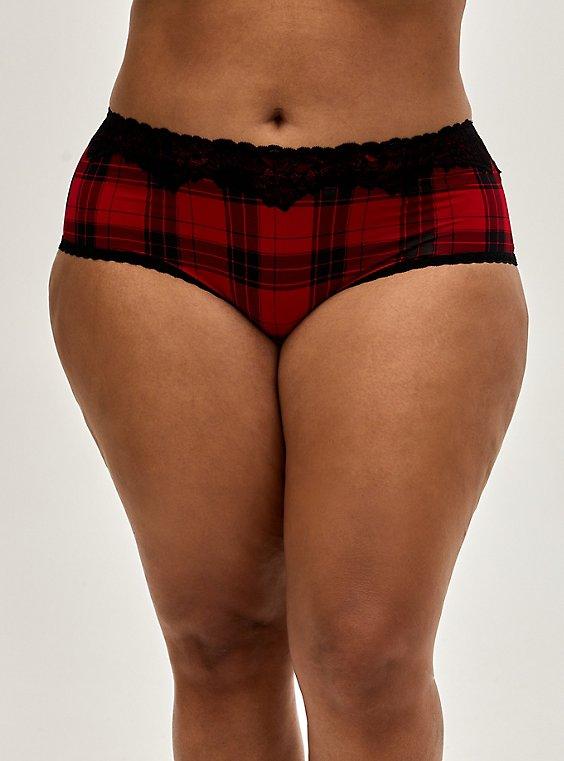 Red Plaid Shine Cheeky Panty , , hi-res