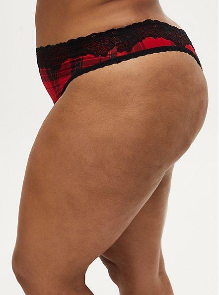 Red Plaid Shine Thong Panty , SPLAT PLAID, alternate