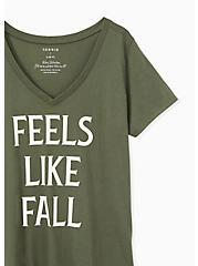 Plus Size Feels Like Fall V-Neck Tee - Olive Green, DEEP DEPTHS, alternate