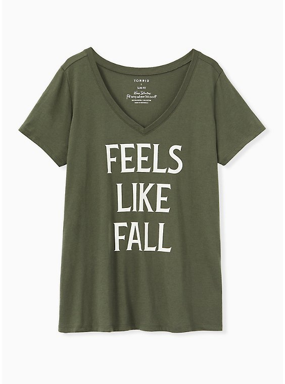 Feels Like Fall V-Neck Tee - Olive Green, , hi-res