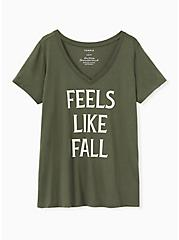 Feels Like Fall V-Neck Tee - Olive Green, DEEP DEPTHS, hi-res
