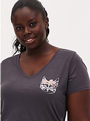 Flower Crown Cat Slim Fit V-Neck Tee - Dark Slate Grey , NINE IRON, alternate