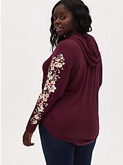 Super Soft Burgundy Purple Floral Sleeve Tunic Hoodie, WINETASTING, alternate