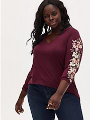 Super Soft Burgundy Purple Floral Sleeve Tunic Hoodie, WINETASTING, hi-res