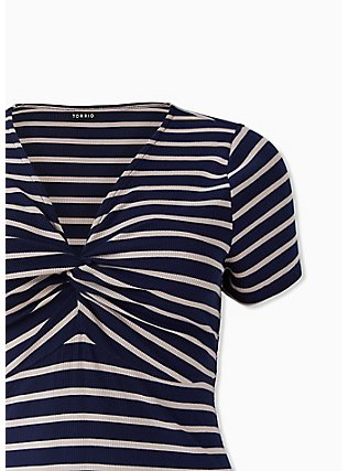 Plus Size Navy & Taupe Stripe Rib Twist Front Dress, STRIPE-NAVY, alternate