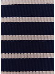 Navy & Taupe Stripe Rib Twist Front Dress, STRIPE-NAVY, alternate