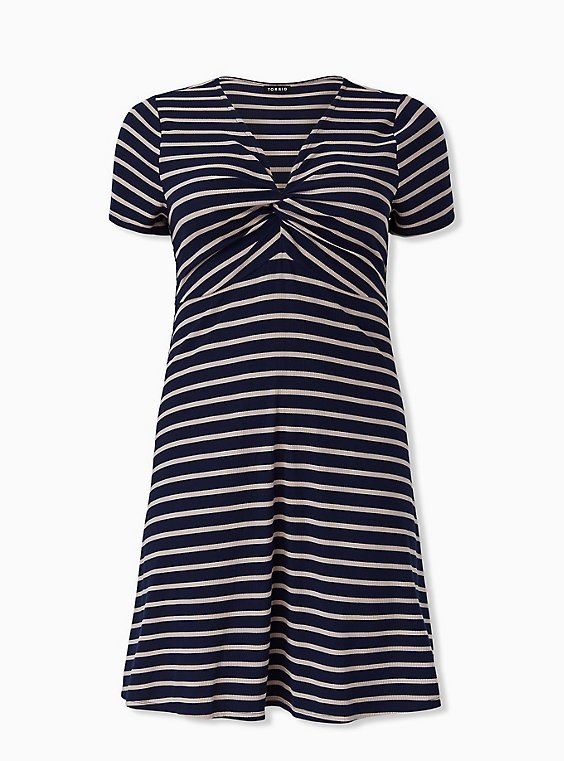 Plus Size Navy & Taupe Stripe Rib Twist Front Dress, , hi-res