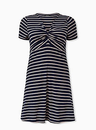 Plus Size Navy & Taupe Stripe Rib Twist Front Dress, STRIPE-NAVY, hi-res