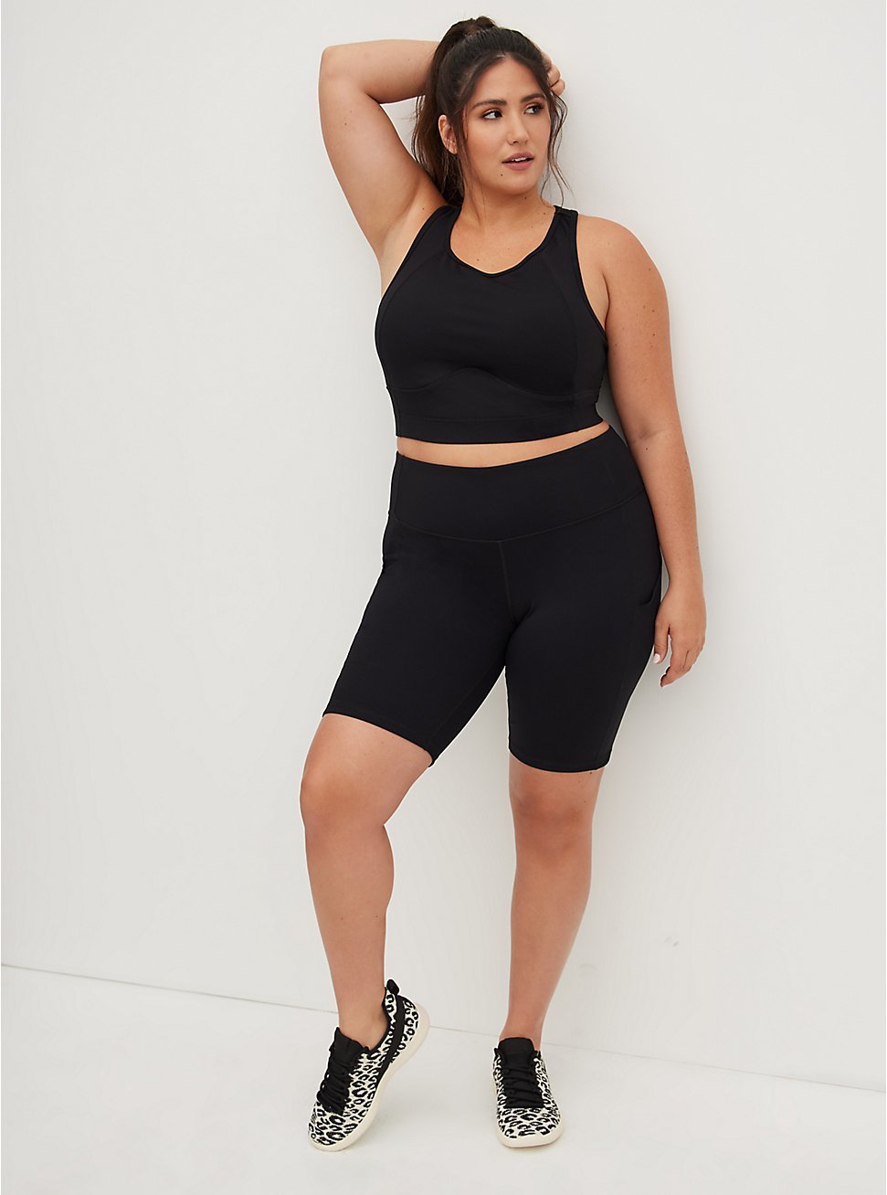 Plus Size Black Wicking Active Bike Short with Pockets, DEEP BLACK, hi-res