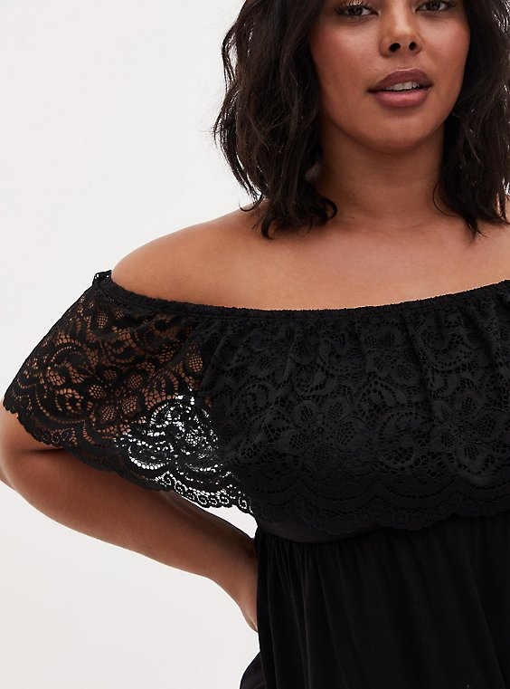 Super Soft & Lace Black Off Shoulder Top , DEEP BLACK, hi-res