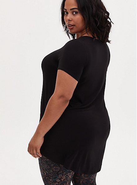 Super Soft Black Hi-Lo Tee, DEEP BLACK, alternate