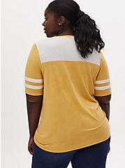 Plus Size V-Neck Football Tee - Vintage Burnout Yellow, BAMBOO, alternate