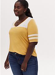 Plus Size V-Neck Football Tee - Vintage Burnout Yellow, BAMBOO, hi-res
