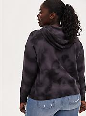 Plus Size Black Tie-Dye Fleece Hoodie, DEEP BLACK TIE DYE, alternate