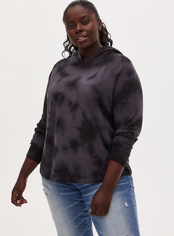 Plus Size Black Tie-Dye Fleece Hoodie, DEEP BLACK TIE DYE, hi-res