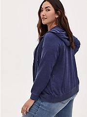 Navy Fleece Burnout Zip Hoodie, MEDIEVAL BLUE, alternate