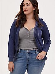 Plus Size Navy Fleece Burnout Zip Hoodie, MEDIEVAL BLUE, hi-res