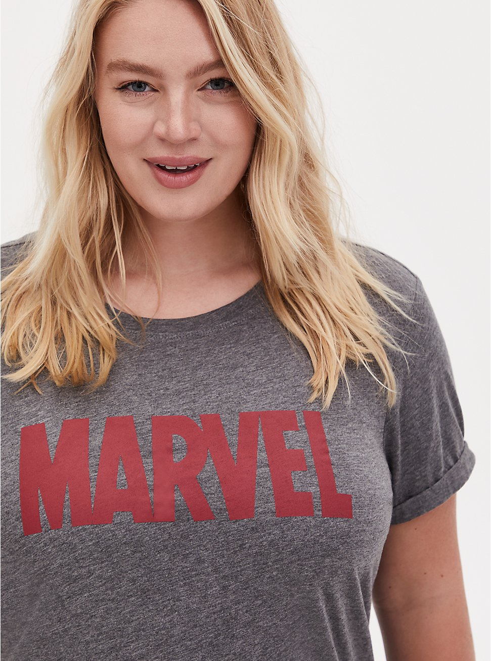 Marvel Logo Relaxed Fit Crew Top - Grey, GREY, hi-res