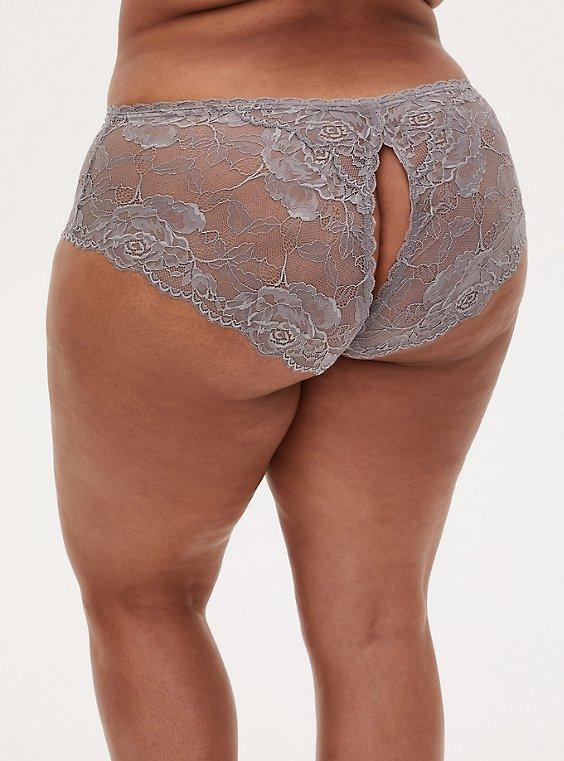 Silver Grey Lace Back Slit Hipster Panty, SILVER FILIGREE, hi-res
