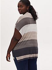 Multi Stripe Pointelle Open Front Kimono Cardigan, STRIPE - GREY, alternate