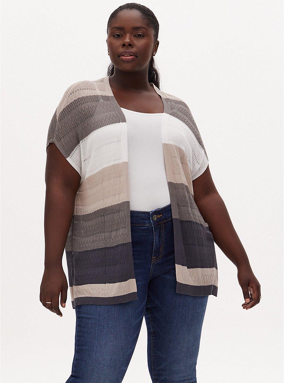 Multi Stripe Pointelle Open Front Kimono Cardigan, STRIPE - GREY, hi-res