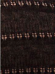 Plus Size Black Pointelle Open Front Kimono Cardigan, DEEP BLACK, alternate