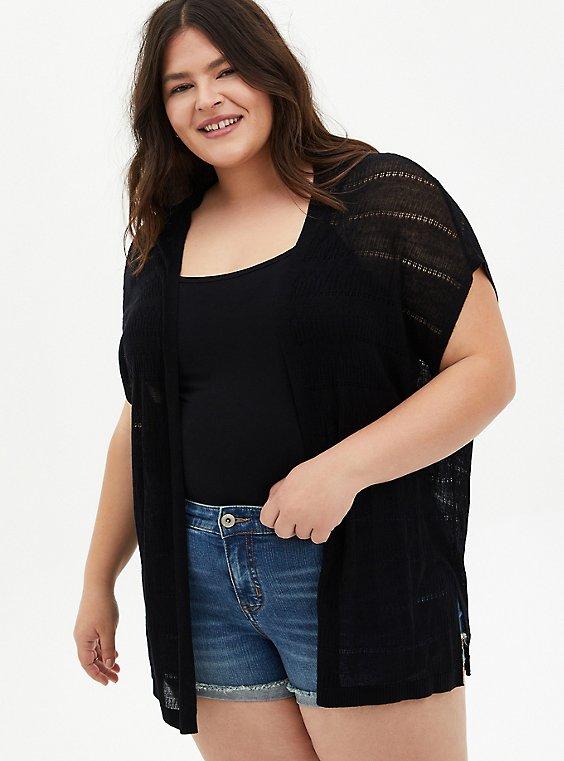 Plus Size Black Pointelle Open Front Kimono Cardigan, , hi-res