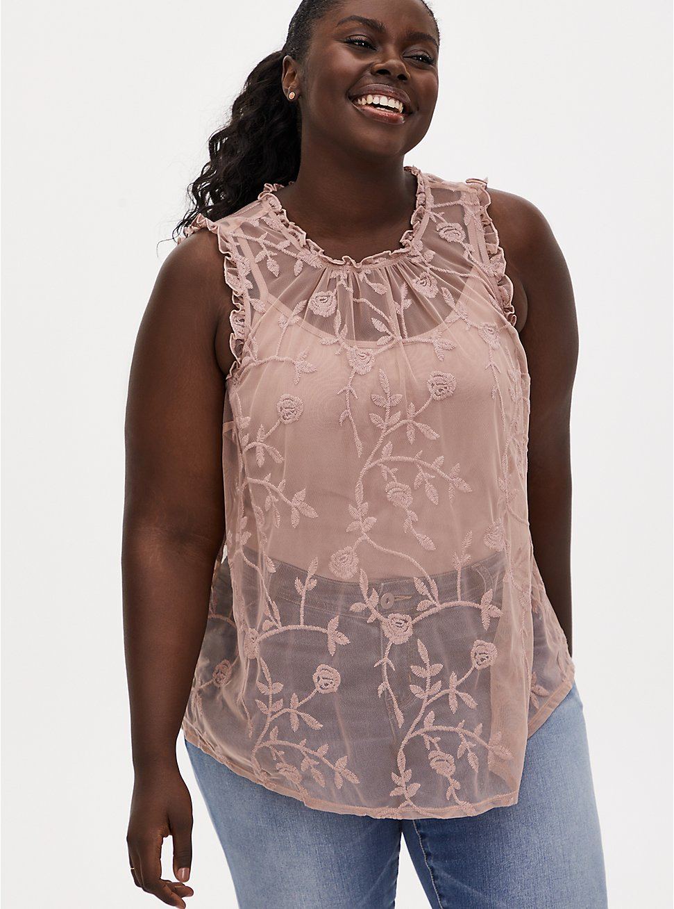 Taupe Sheer Mesh Embroidered Ruffle Sleeveless Blouse, FAWN, hi-res