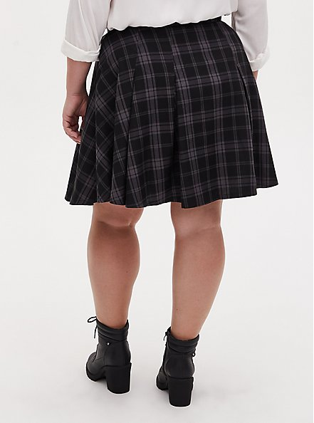 Harry Potter Hogwarts Grey Plaid Twill  Button Front Mini Skirt , DEEP BLACK, alternate