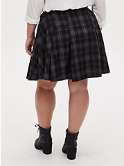 Harry Potter Hogwarts Grey Plaid Twill  Button Front Mini Skirt , DEEP BLACK, alternate