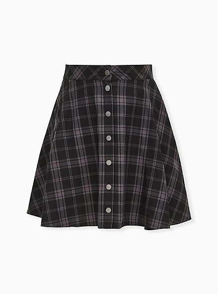 Harry Potter Hogwarts Grey Plaid Twill  Button Front Mini Skirt , DEEP BLACK, hi-res