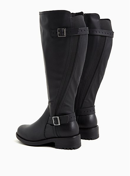 Black Faux Leather Curved Knee-High Boot (WW), BLACK, alternate