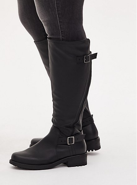 Black Faux Leather Curved Knee-High Boot (WW), BLACK, hi-res