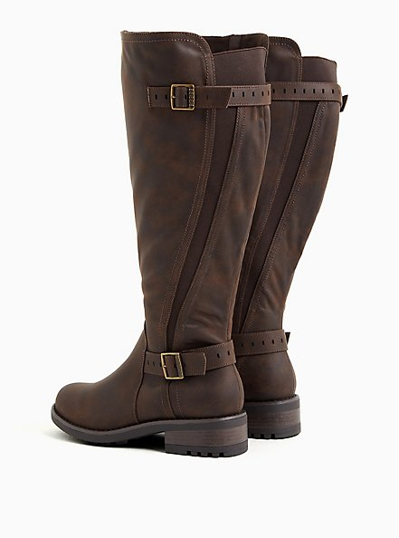 Chestnut Faux Leather Curved Knee-High Boot (WW), BROWN, alternate