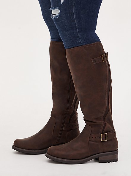 Chestnut Faux Leather Curved Knee-High Boot (WW), BROWN, hi-res