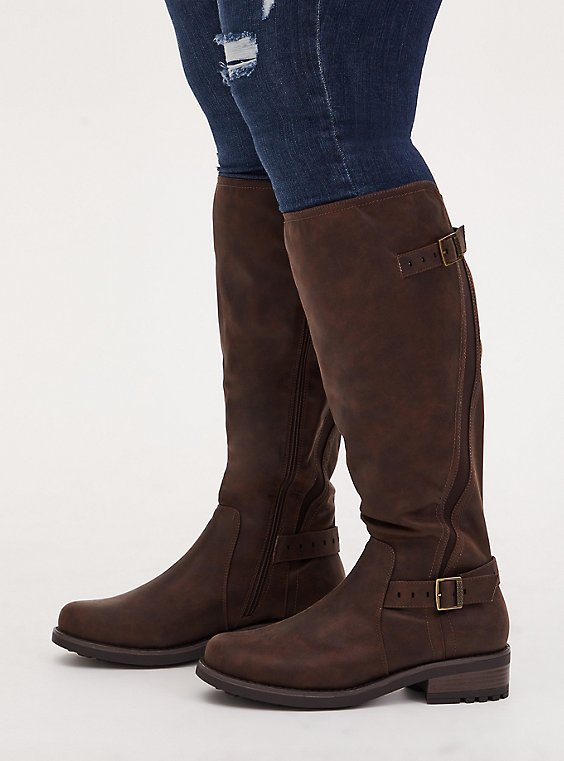 Chestnut Faux Leather Curved Knee-High Boot (WW), , hi-res