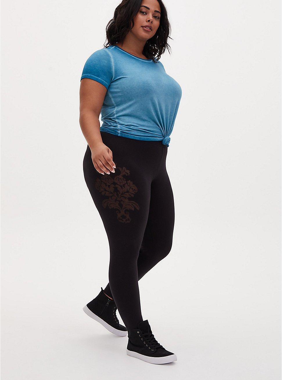 Premium Legging - Heart & Floral Filigree Black, BLACK, hi-res