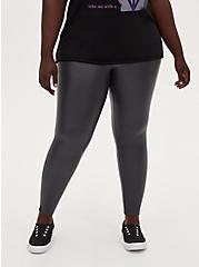 Platinum Legging - Faux Leather Dark Grey, BLACK, alternate