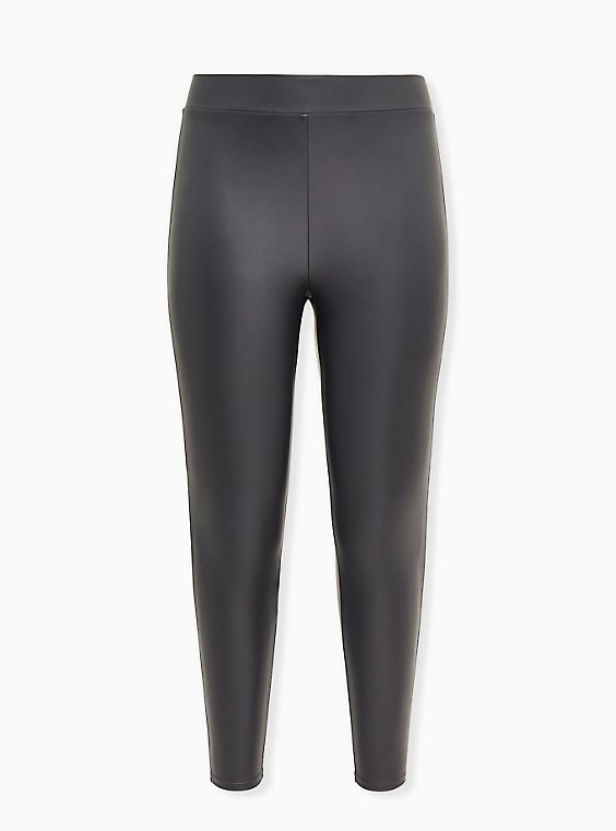Platinum Legging - Faux Leather Dark Grey, BLACK, ls