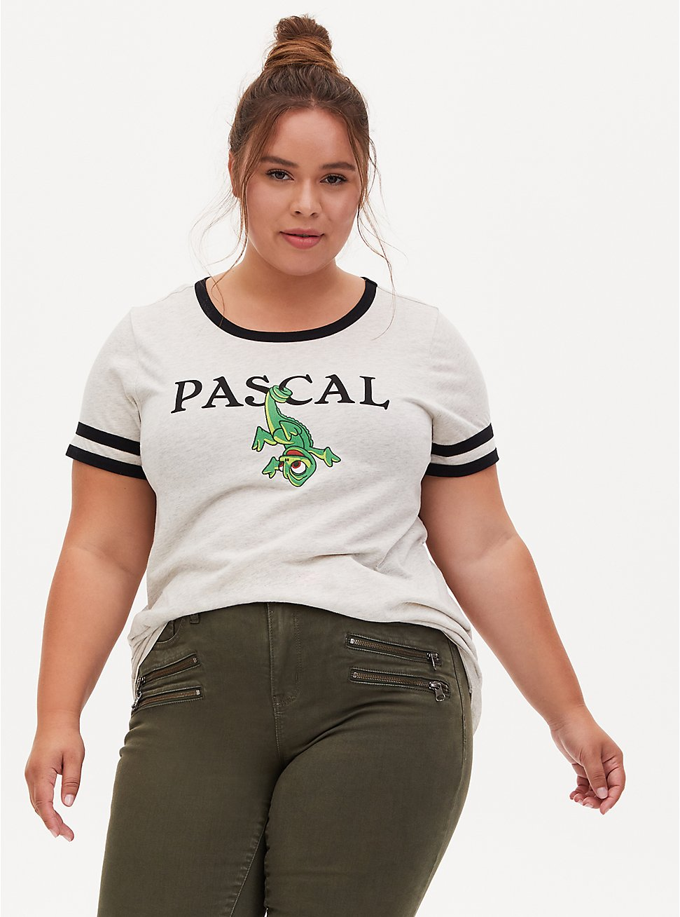 Disney Tangled Pascal Oatmeal Crew Neck Ringer Top, OATMEAL HEATHER, hi-res